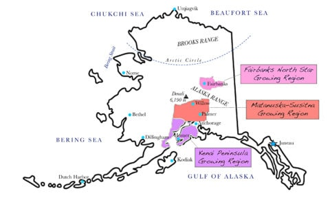 Regional map of peony growers by Alaska Department of Natural Resources Division of Agriculture